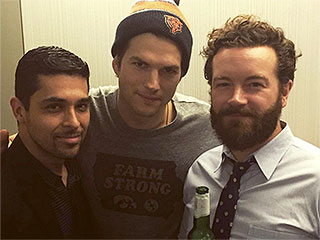 It's a Mini-'70s Show Reunion! Ashton Kutcher Hangs with 'Fam' Wilmer Valderrama, Danny Masterson