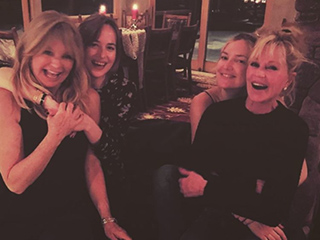 Famous Mom Swap! Melanie Griffith Cuddles Up to Kate Hudson As Goldie Hawn and Dakota Johnson Do the Same in This Adorable Snap