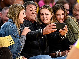 Rocky and His Knockouts! Sylvester Stallone Poses for a Pic with His Three Daughters at Lakers Game