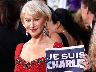 George and Amal, Jared Leto, Helen Mirren, and More Stars Pose with #JeSuisCharlie Signs on Red Carpet
