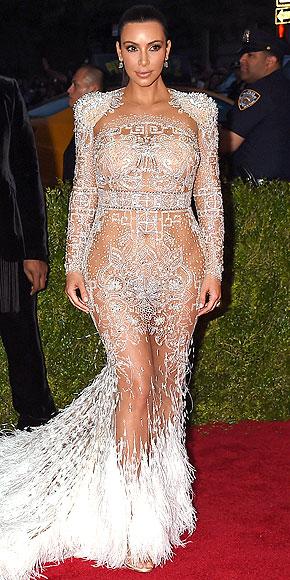 Kim Kardashian went sheer Met Gala red carpet