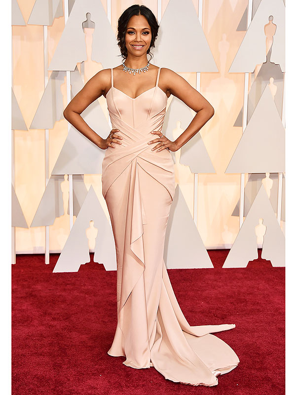 Zoe Saldana Oscars red carpet