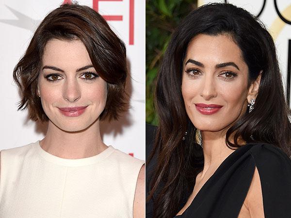 Anne Hathaway Amal Clooney twins