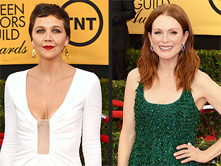 Maggie Gyllenhaal on Her SAG Awards Gown: I Hope My Boobs Stay Inside My Dress | Julianne Moore, Maggie Gyllenhaal, Natalie Dormer, Sarah Paulson