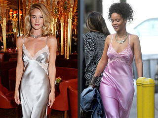 Is Rosie Huntington-Whiteley Stealing Rihanna's Nightgown Style?