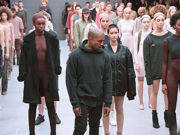 Kanye West attends the adidas show during Mercedes