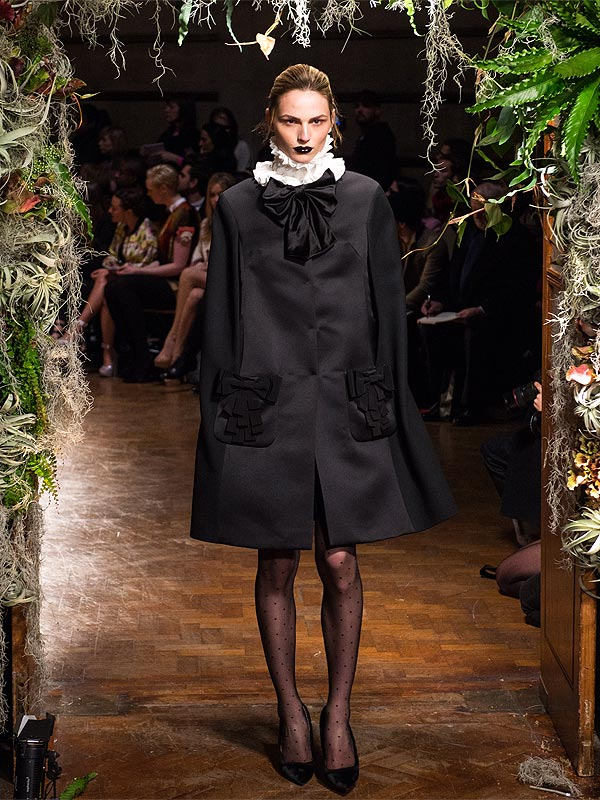 Andreja Pejic walks the runway at the Giles show