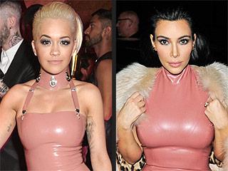 Kim Kardashian and Rita Ora Wear Matching, Skintight Latex Dresses to the Same Event
