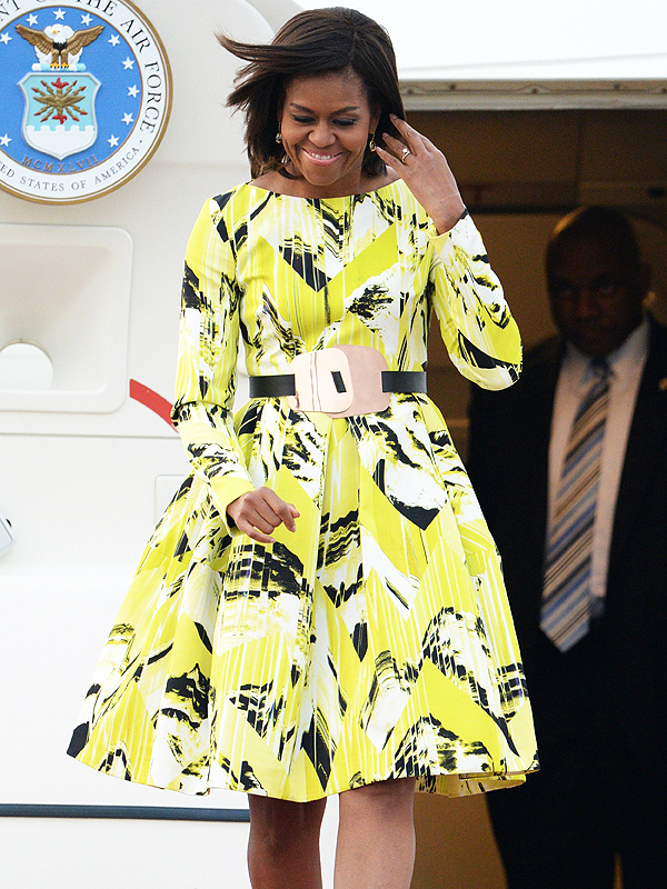 Michelle Obama is seen upon arriving at Tokyo International Airport