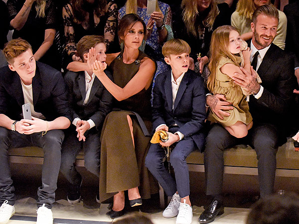 Beckhams at Burberry show