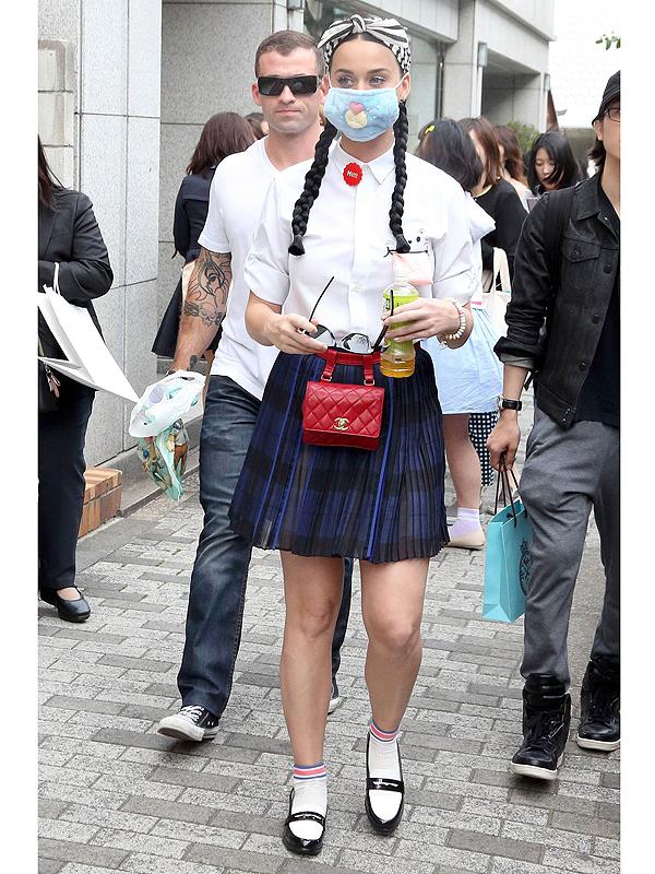 Katy Perry schoolgirl outfit in Tokyo