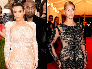 Kim Kardashian Pulls a Beyoncé at the Met Gala, Channels the Singer in Sheer Feathered Gown