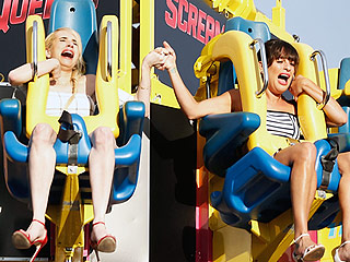 Scream Queens! Lea Michele and Emma Roberts Can't Contain Their Shrieks on Comic-Con Ride