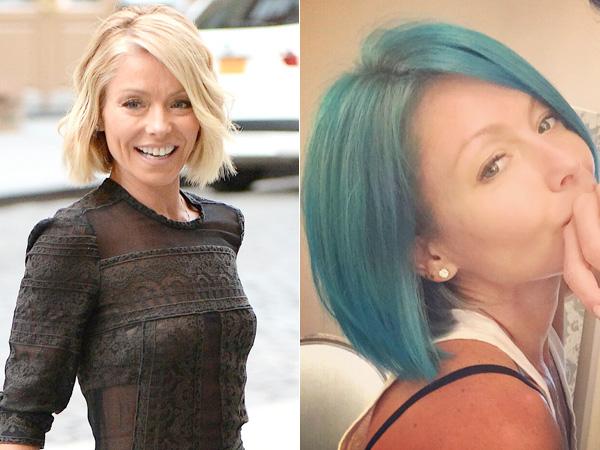 Kelly Ripa blue hair