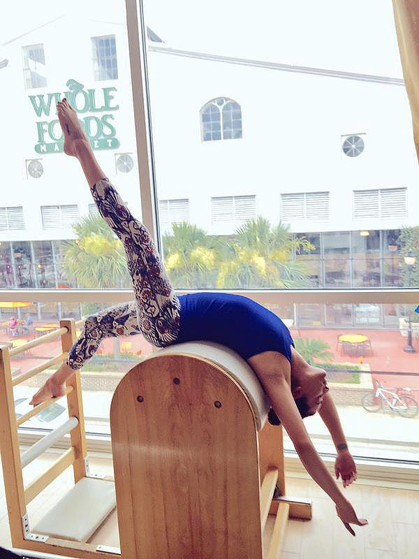 Lea Michele pilates photos