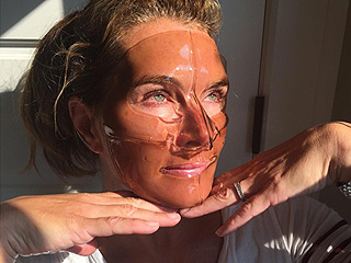 Brooke Shields Limits Her Wine Consumption to On-Face Only (See Her Silly Mask Selfie!)