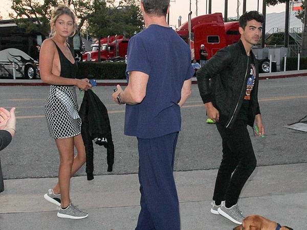 Gigi Hadid and Joe Jonas matching Yeezys