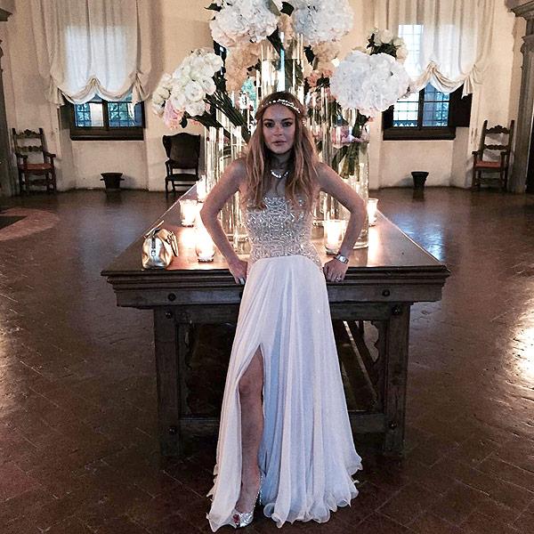 Lindsay Lohan wears white to friend's wedding