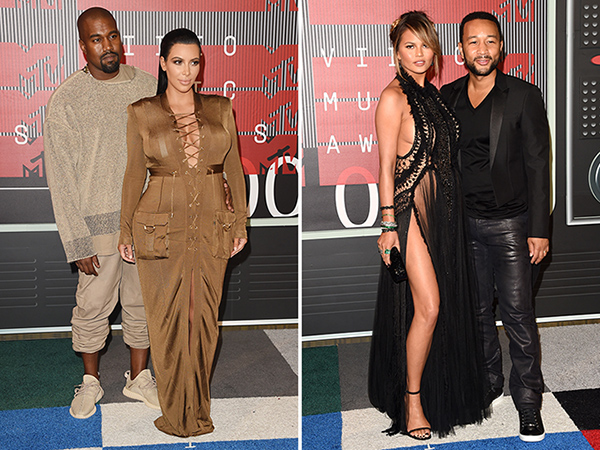 Kanye West and Kim Kardashian; Chrissy Teigen and John Legend