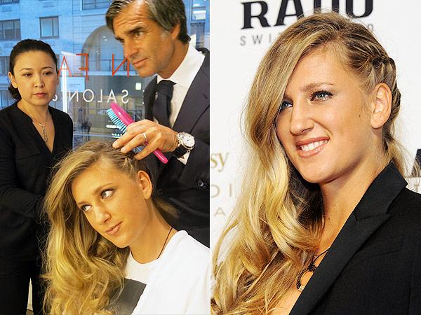 U.S. Open Hairstylist Julien Farel Coifs Tennis Pro Victoria Azareanka