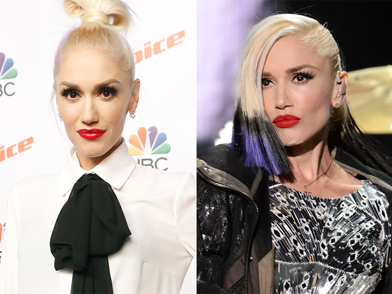 Gwen Stefani purple black hair 2015