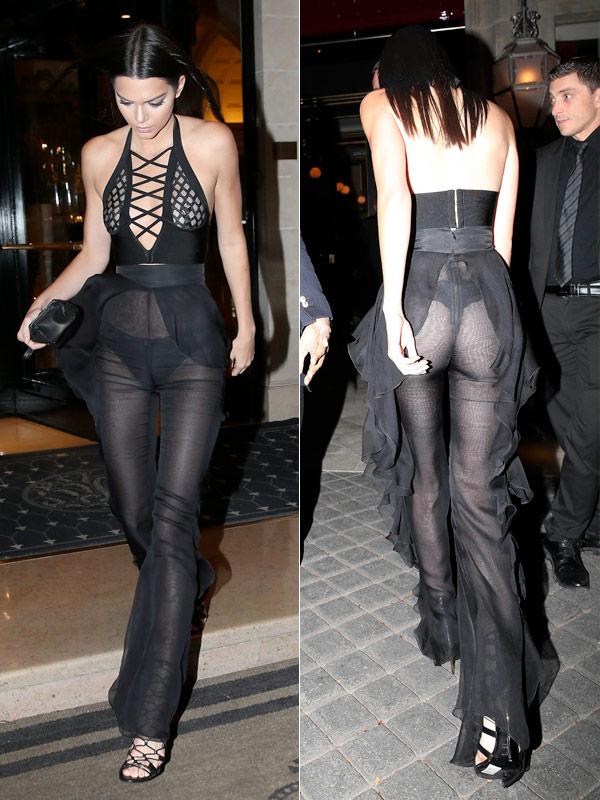 Kendall Jenner sheer Balmain outfit