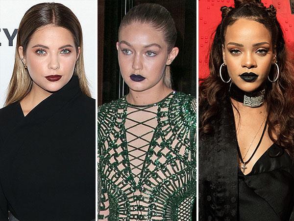 Gigi Rihanna black lipstick