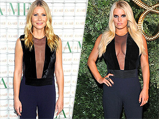 Emergency Fashion Faceoff: Gwyneth Paltrow and Jessica Simpson Wear the Same Cleavage-Baring Jumpsuit