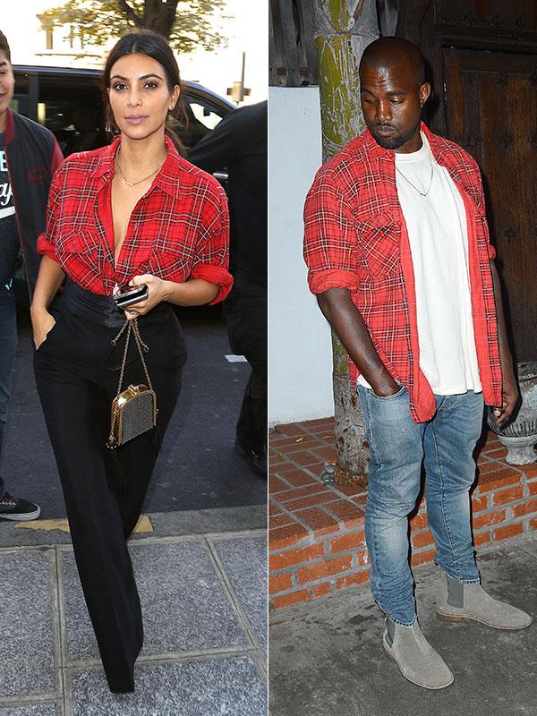 Kim Kardashian Kanye West twinning