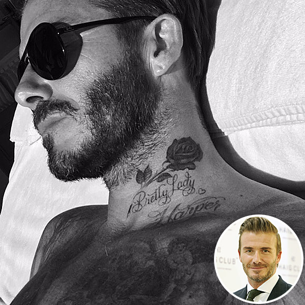 David Beckham gets rose tattoo
