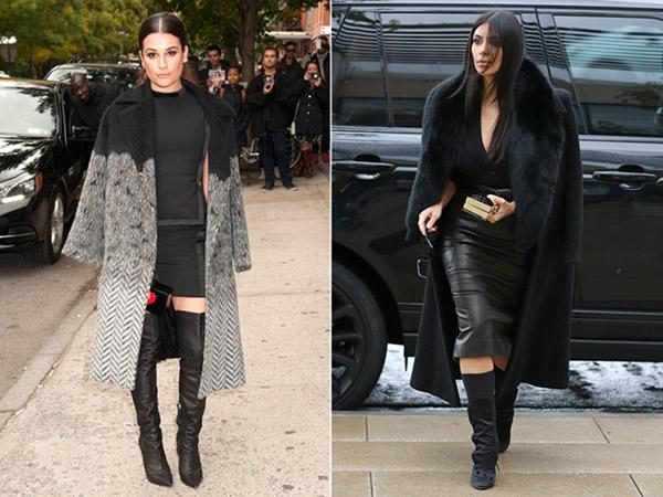 Lea Michele; Kim Kardashian twinning