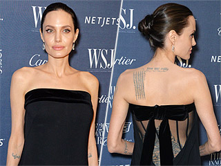 Better from the Back? Angelina Jolie Exposes Her Tattoos in Sheer-Panel Gown