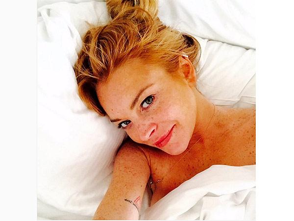 Lindsay Lohan Makeup Free Selfie