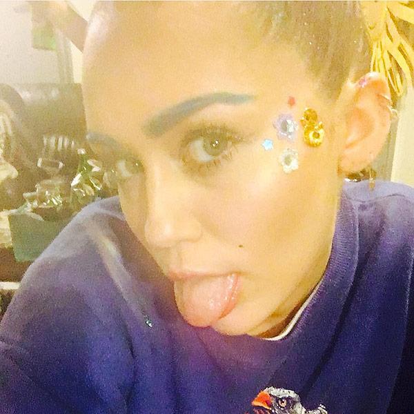 Miley Cyrus Blue Eyebrows Instagram
