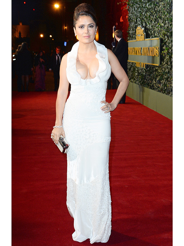 Salma Hayek Shows Off Serious Cleavage in White Gown – Style News ... Salma Hayek