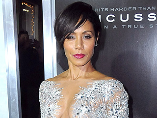 Jada Pinkett Smith Pulls a JLo, Wears a Completely-Sheer Sparkly Gown to Concussion Premiere