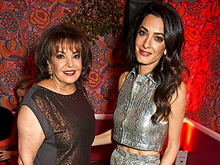 Amal Clooney Wears a Metallic Crop Top, Brings Her Glam Mom Baria to Charlotte Tilbury Event