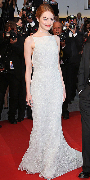 The stars have arrived see emma stone s shimmery silver gown and more