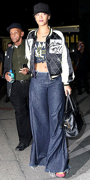 RIHANNA'S DARK-DENIM FLARES