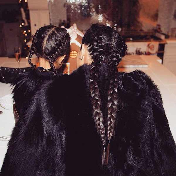 Kim Kardashian and North West braids