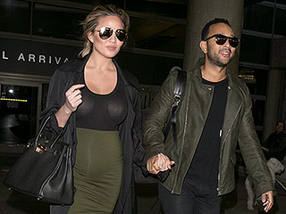 'We Back!' Pregnant Chrissy Teigen and John Legend Return from Vacation in Color-Coordinated Outfits