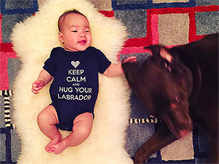 Baby's Best Friend! Lucy Liu's Son Celebrates the New Year with Family Dog