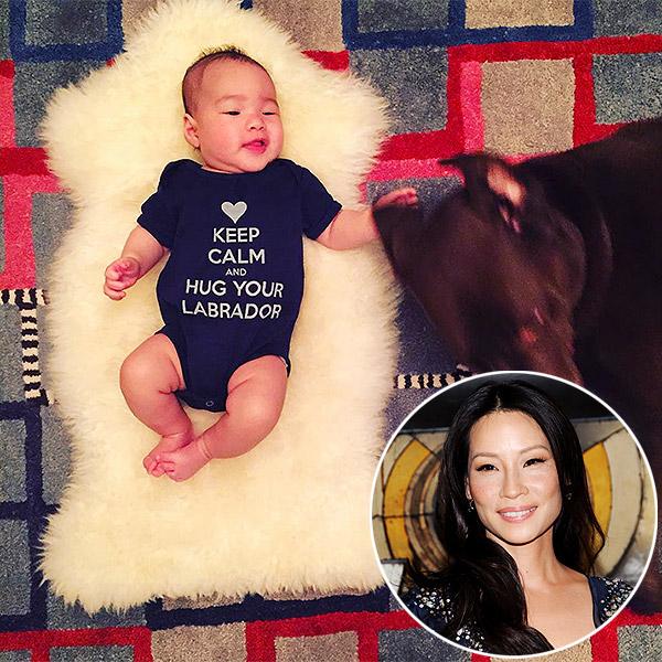 Lucy Liu son Rockwell onesie photo