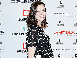 She's Got the Glow! Anne Hathaway Dresses Up Her Growing Bump in a Mod Minidress