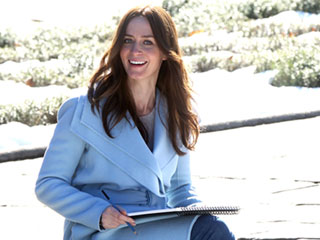 Glowing Emily Blunt Covers Her Baby Bump on Set of The Girl on the Train After Confirming Pregnancy