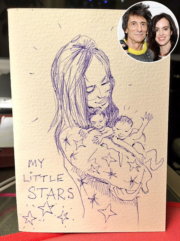 Ronnie Wood - wife and child doodle on Twitter