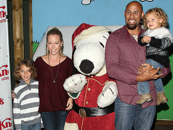 From left: Little Hank, Kendra Wilkinson, Hank Baskett and Alijah