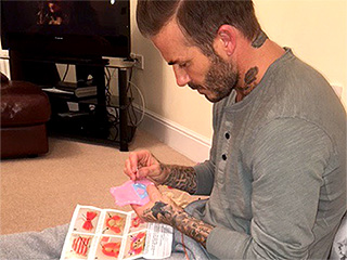 David Beckham Sews Doll Dresses for Daughter Harper in Sweet Instagram Snap