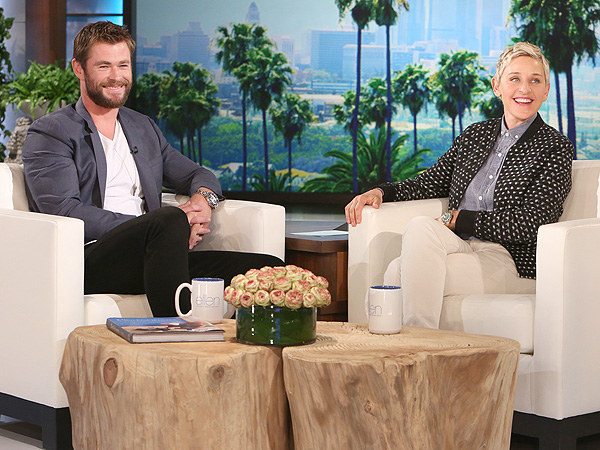 Chris Hemsworth and Ellen DeGeneres