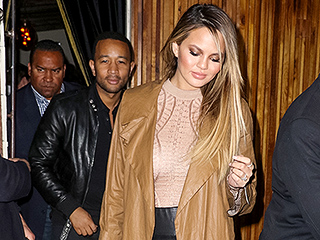 Chrissy Teigen Steps Out in Sheer Shirt and Leather Leggings Just 9 Days After Giving Birth